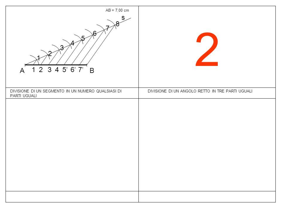 AB = 7,00 cm s. B. A. 1. 2. 3. 4. 5. 6. 7. 8. 7' 6' 5' 2. DIVISIONE DI UN SEGMENTO IN UN NUMERO QUALSIASI DI PARTI UGUALI.