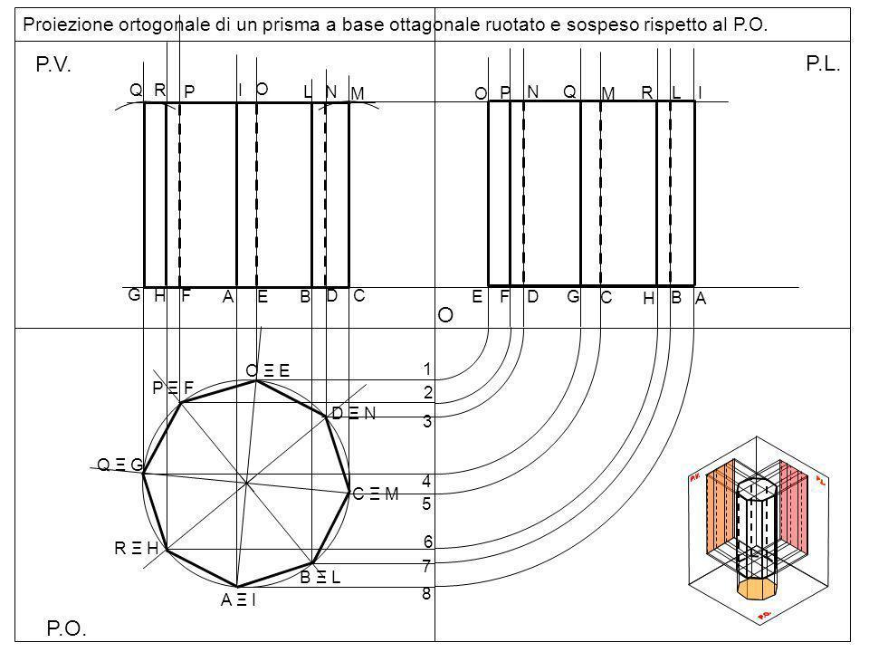 Proiezione ortogonale di un prisma a base ottagonale ruotato e sospeso rispetto al P.O.