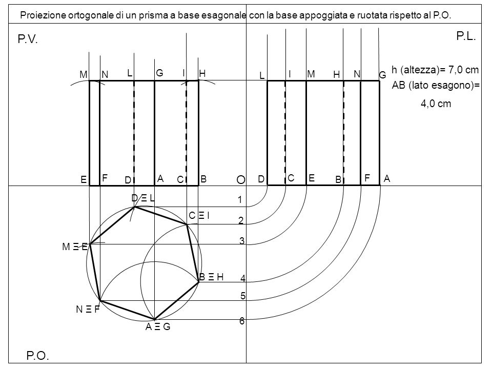 P.L. P.V. O P.O. h (altezza)= 7,0 cm AB (lato esagono)= 4,0 cm