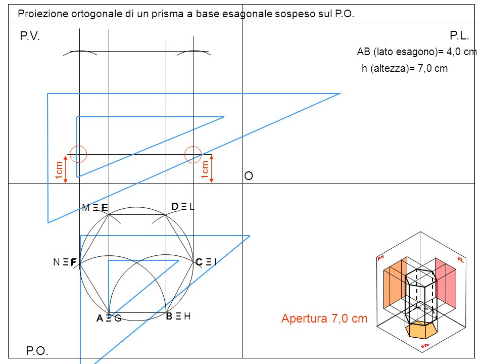 Proiezione ortogonale di un prisma a base esagonale sospeso sul P.O.