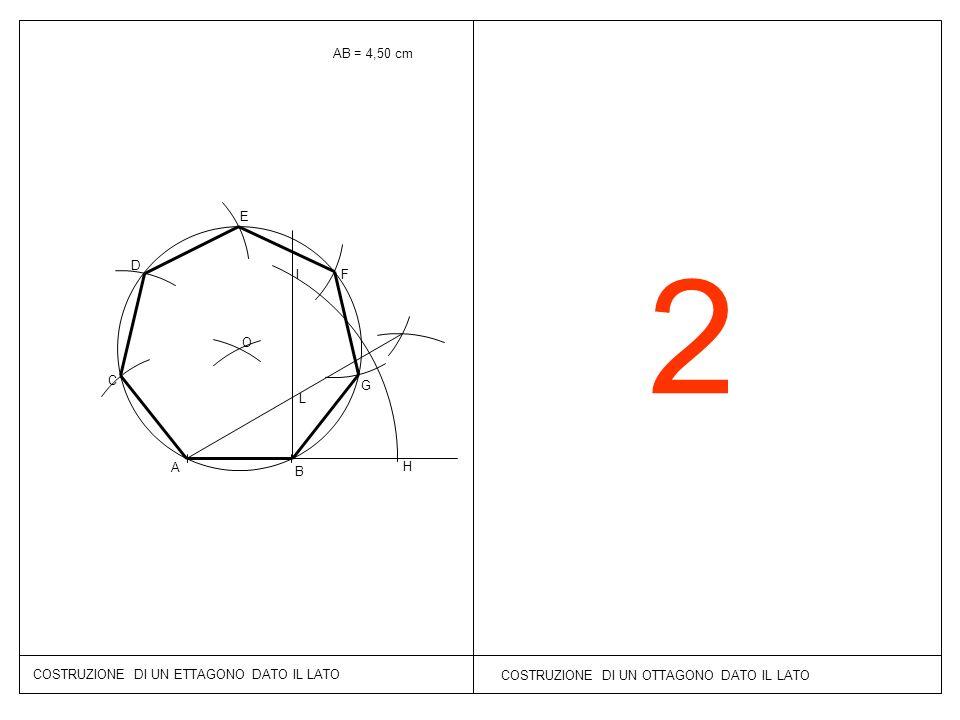 AB = 4,50 cm E. 2. D. I. F. O. C. G. L. A. B. H. COSTRUZIONE DI UN ETTAGONO DATO IL LATO.