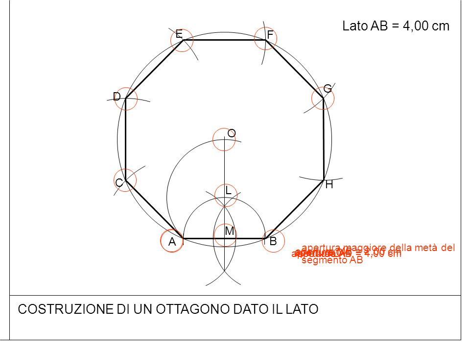 COSTRUZIONE DI UN OTTAGONO DATO IL LATO Lato AB = 4,00 cm