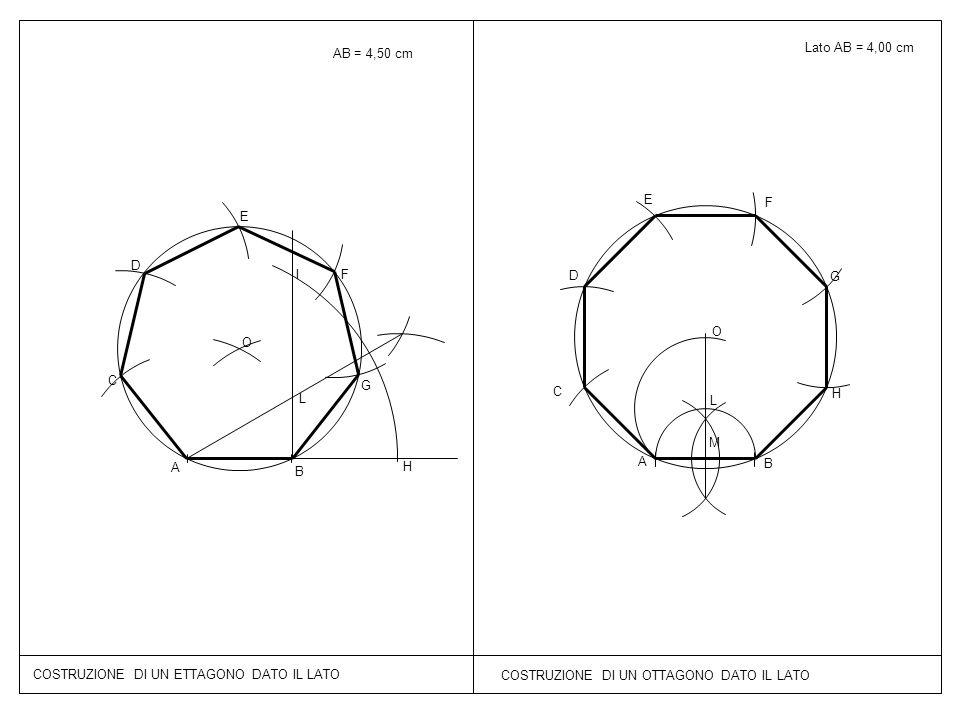 AB = 4,50 cm Lato AB = 4,00 cm. E. F. E. D. I. F. D. G. O. O. C. G. C. L. H. L. M.
