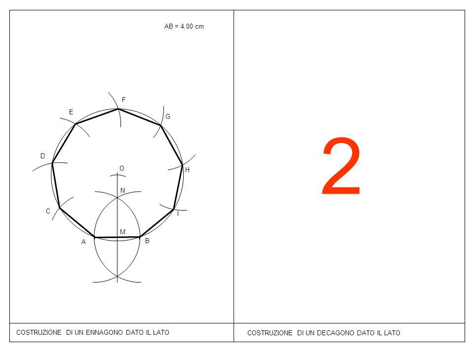 AB = 4,00 cm F. E. G. 2. D. O. H. N. C. I. M. A. B. COSTRUZIONE DI UN ENNAGONO DATO IL LATO.