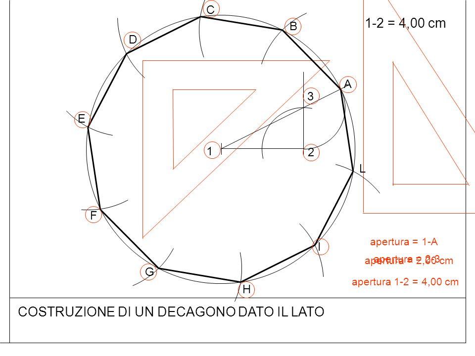 COSTRUZIONE DI UN DECAGONO DATO IL LATO 1-2 = 4,00 cm