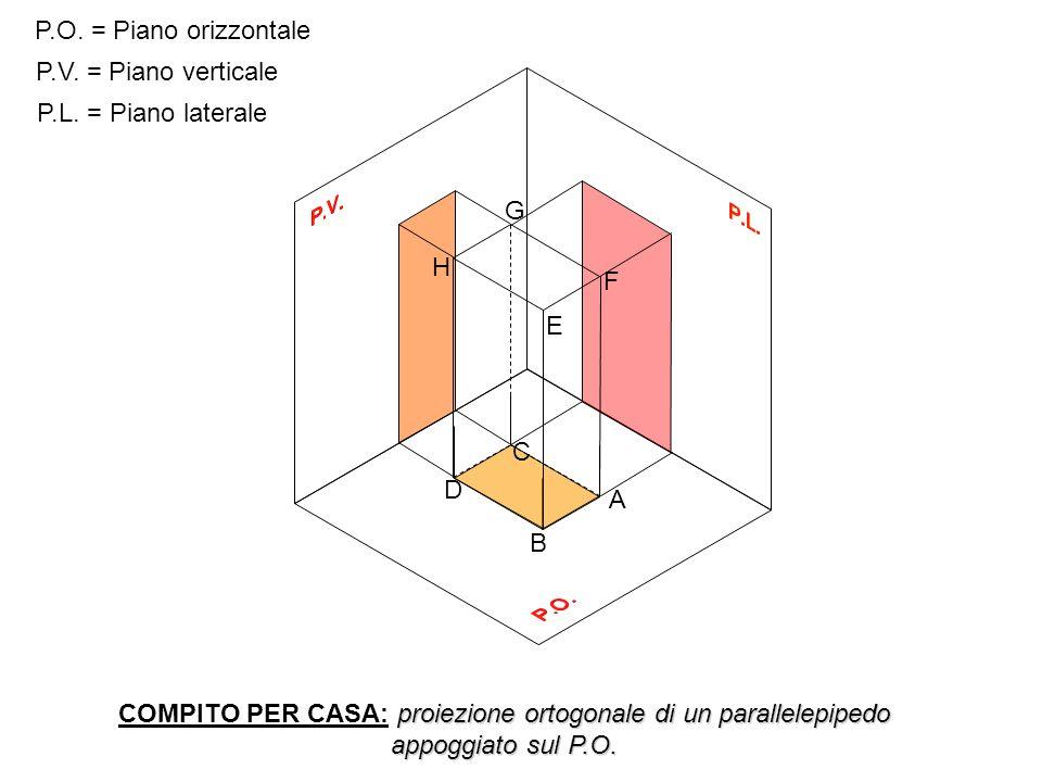 P.O. = Piano orizzontale P.V. = Piano verticale. P.L. = Piano laterale. A. B. C. D. E. F. G.