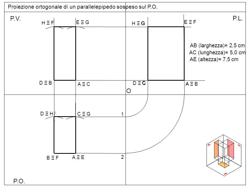 Proiezione ortogonale di un parallelepipedo sospeso sul P.O.