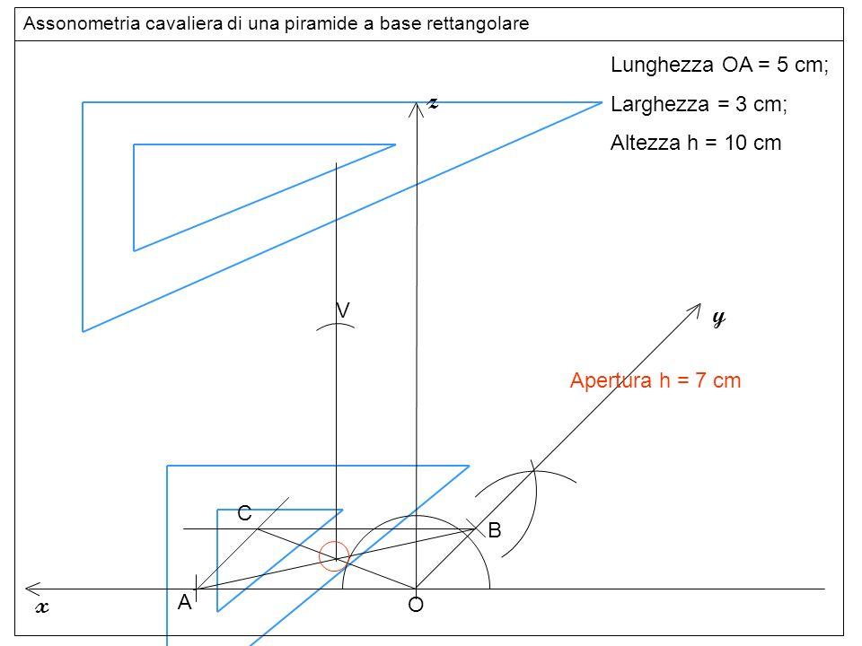 altezza z y x Lunghezza OA = 5 cm; Larghezza = 3 cm; Altezza h = 10 cm