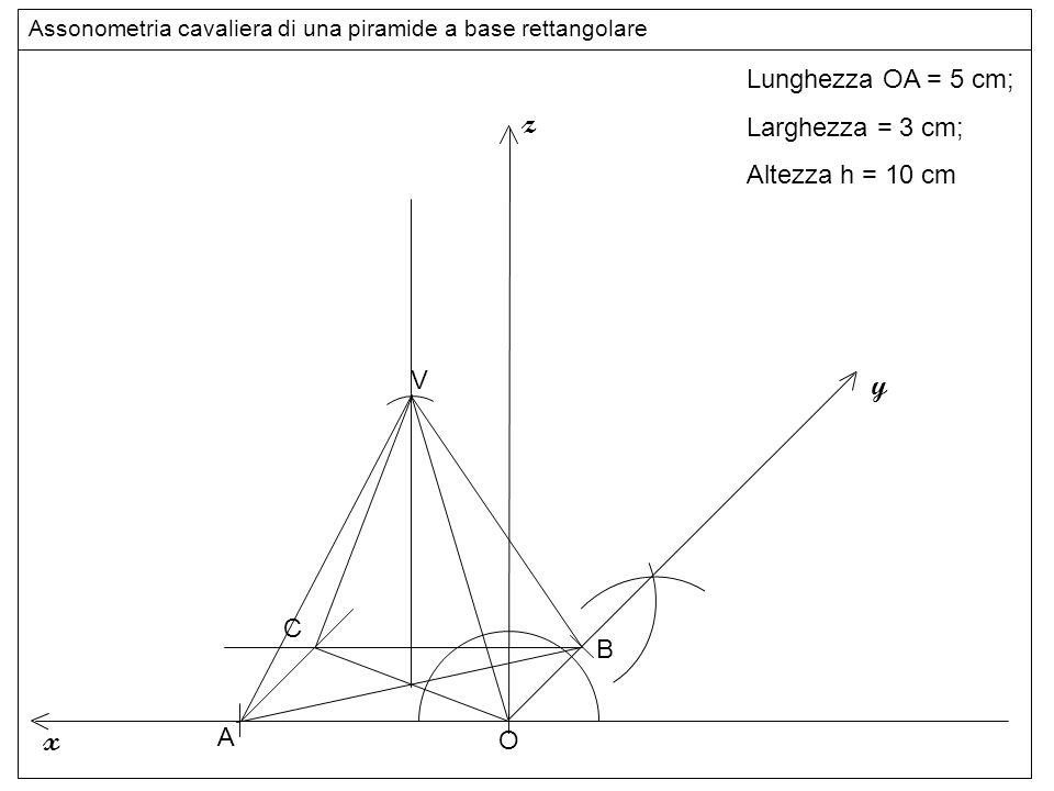 vertice z y x Lunghezza OA = 5 cm; Larghezza = 3 cm; Altezza h = 10 cm
