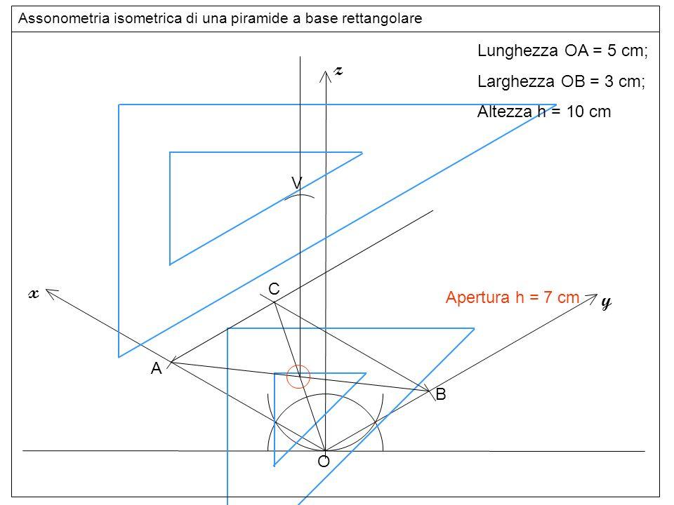 altezza z x y Lunghezza OA = 5 cm; Larghezza OB = 3 cm;
