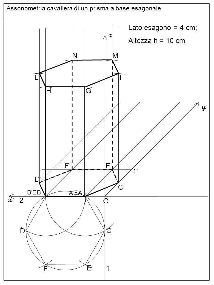 Linee z y x Lato esagono = 4 cm; Altezza h = 10 cm N M L I H G F' E'