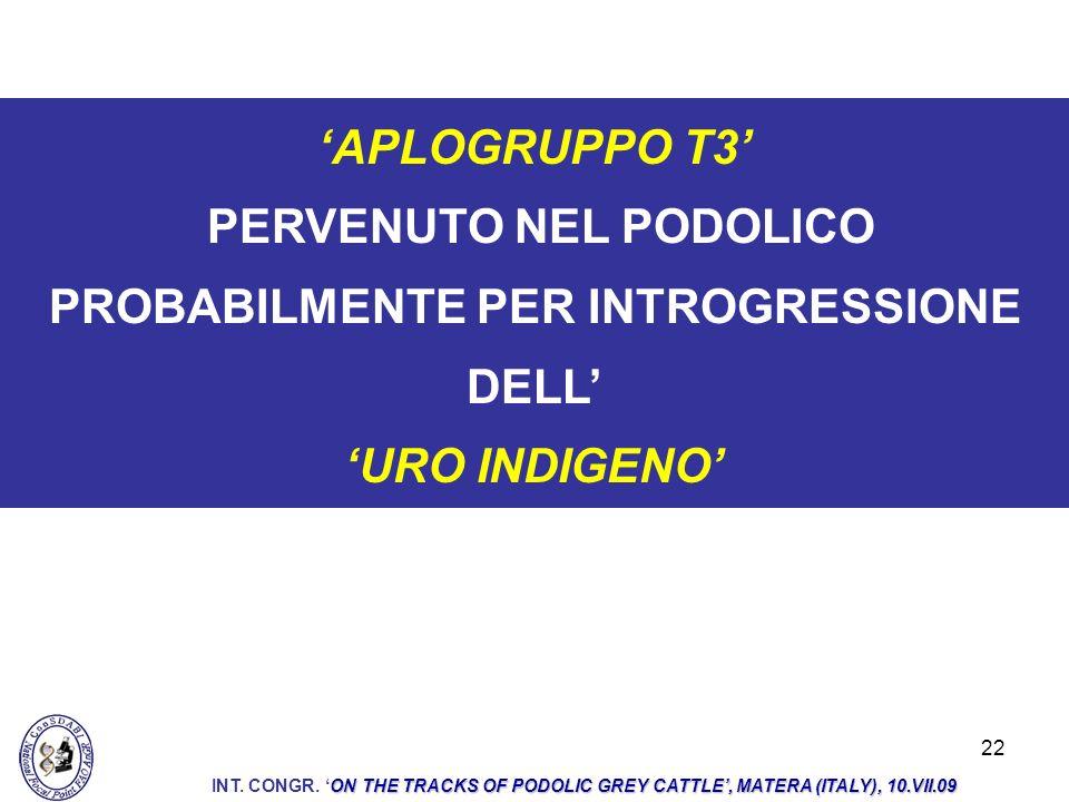 PERVENUTO NEL PODOLICO PROBABILMENTE PER INTROGRESSIONE DELL'