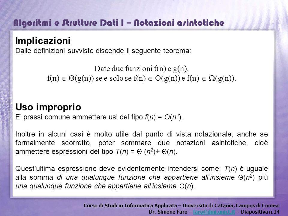 Implicazioni Uso improprio Date due funzioni f(n) e g(n),