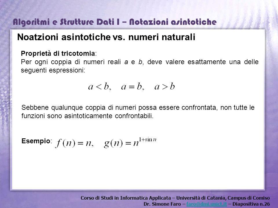 Noatzioni asintotiche vs. numeri naturali