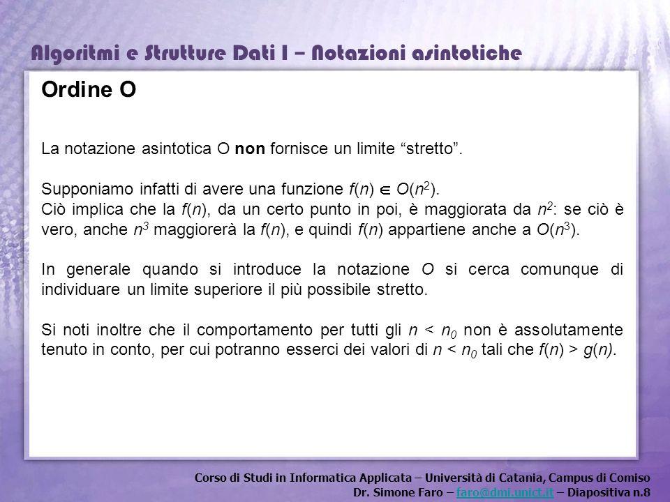 Ordine O La notazione asintotica O non fornisce un limite stretto .