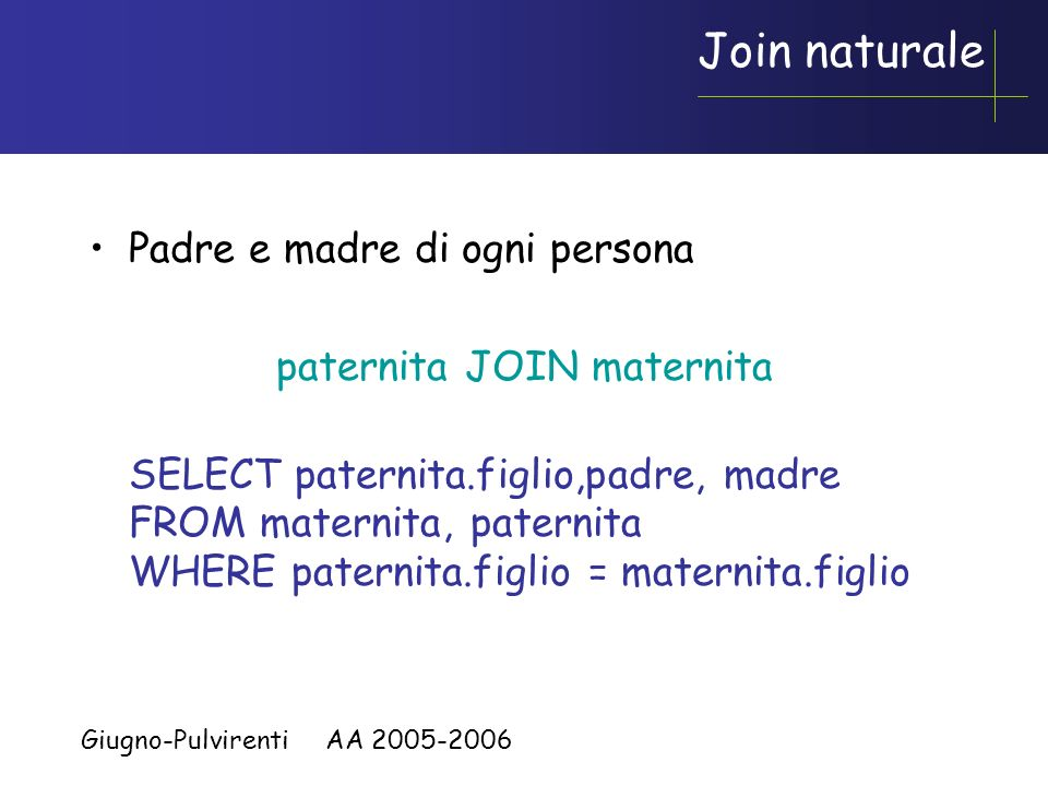 Join naturale Padre e madre di ogni persona paternita JOIN maternita