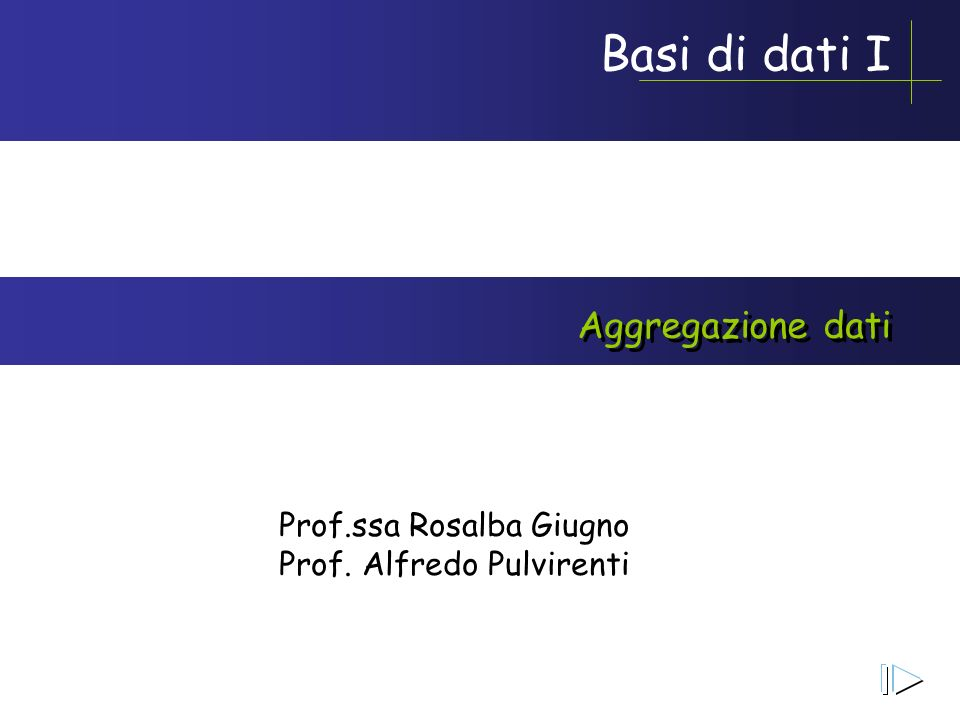 Aggregazione dati