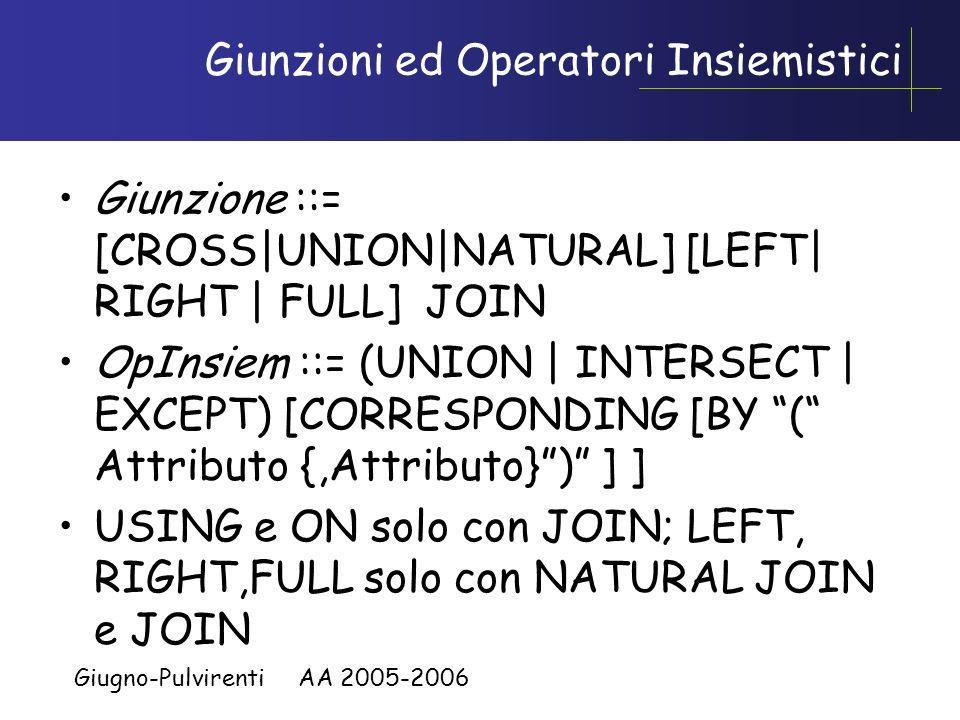 Giunzioni ed Operatori Insiemistici