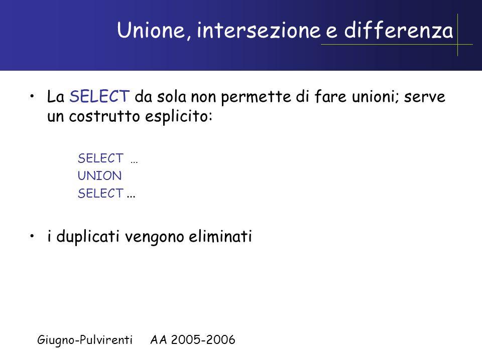 Unione, intersezione e differenza