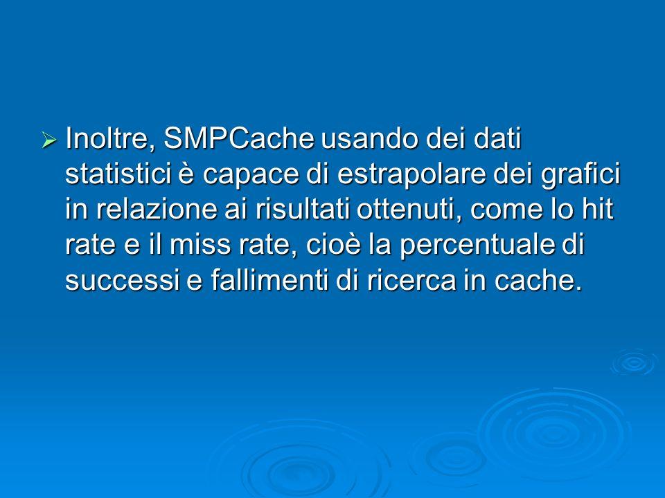 Inoltre, SMPCache usando dei dati statistici è capace di estrapolare dei grafici in relazione ai risultati ottenuti, come lo hit rate e il miss rate, cioè la percentuale di successi e fallimenti di ricerca in cache.