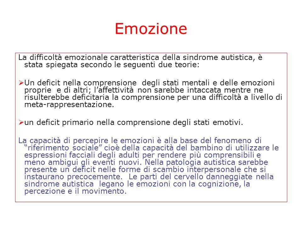 Emozione La difficoltà emozionale caratteristica della sindrome autistica, è stata spiegata secondo le seguenti due teorie:
