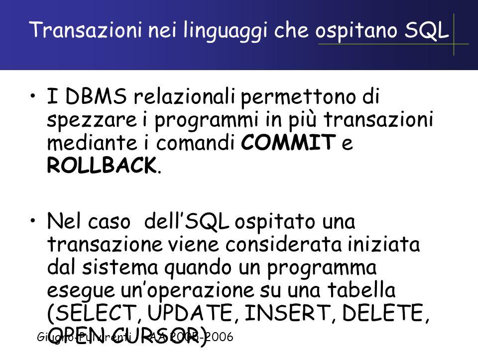 Transazioni nei linguaggi che ospitano SQL