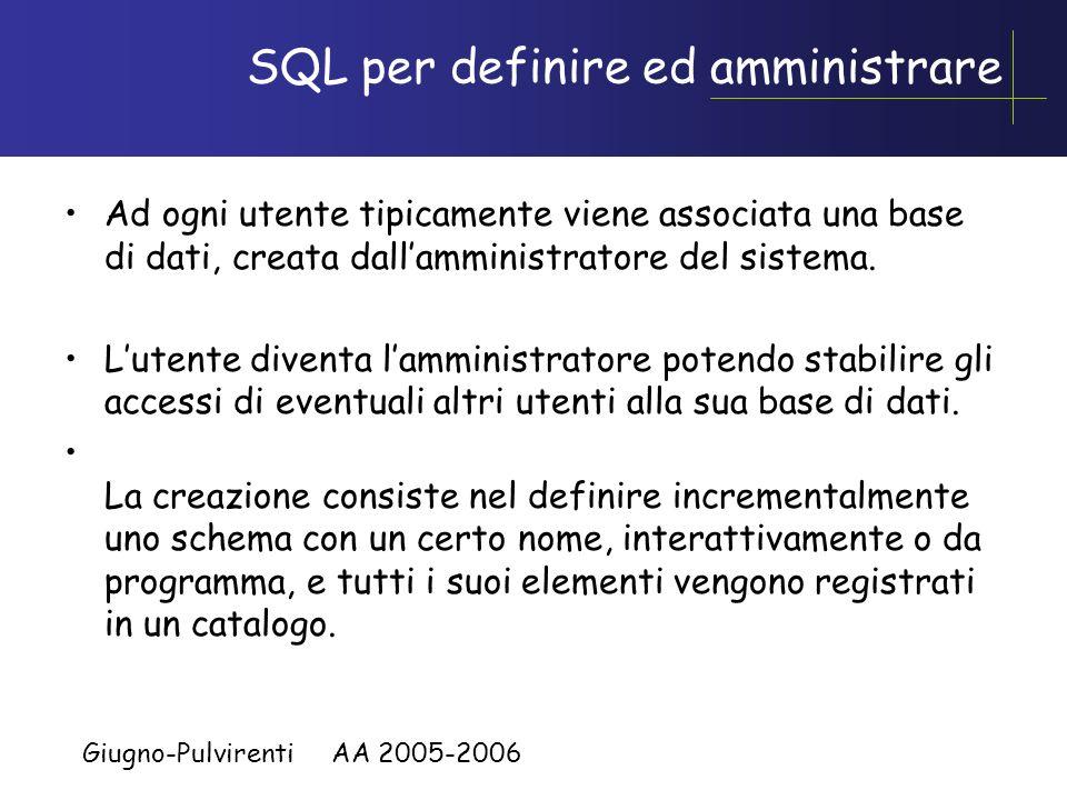 SQL per definire ed amministrare
