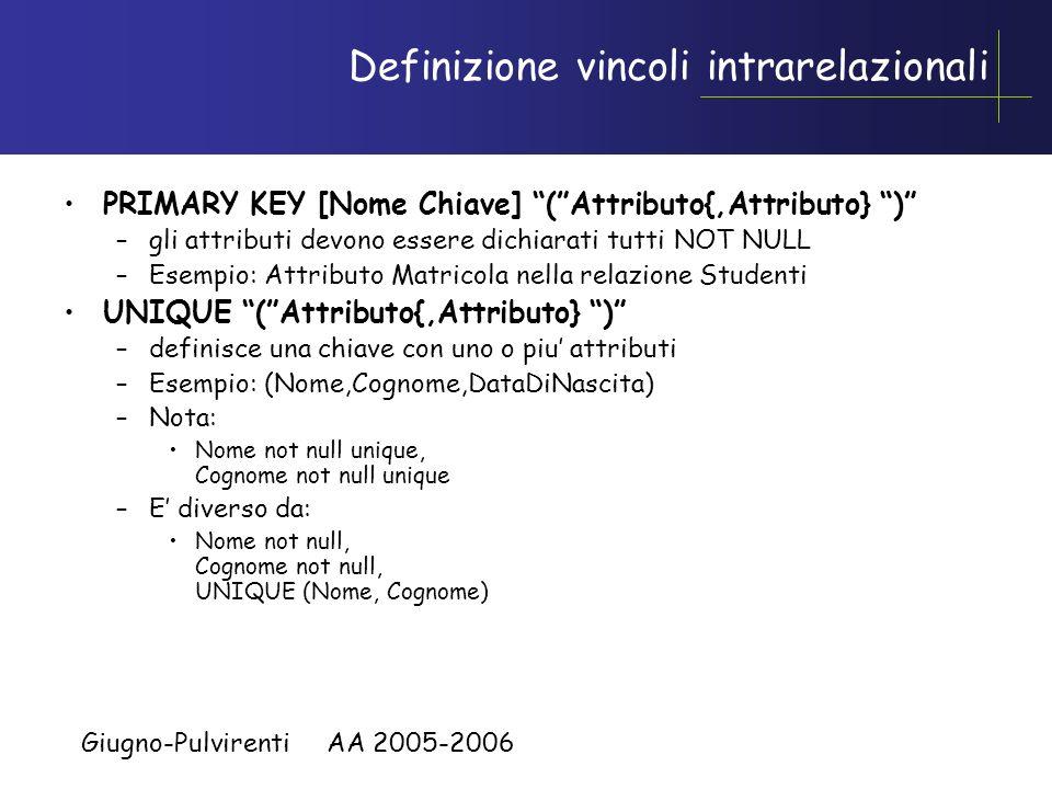 Definizione vincoli intrarelazionali