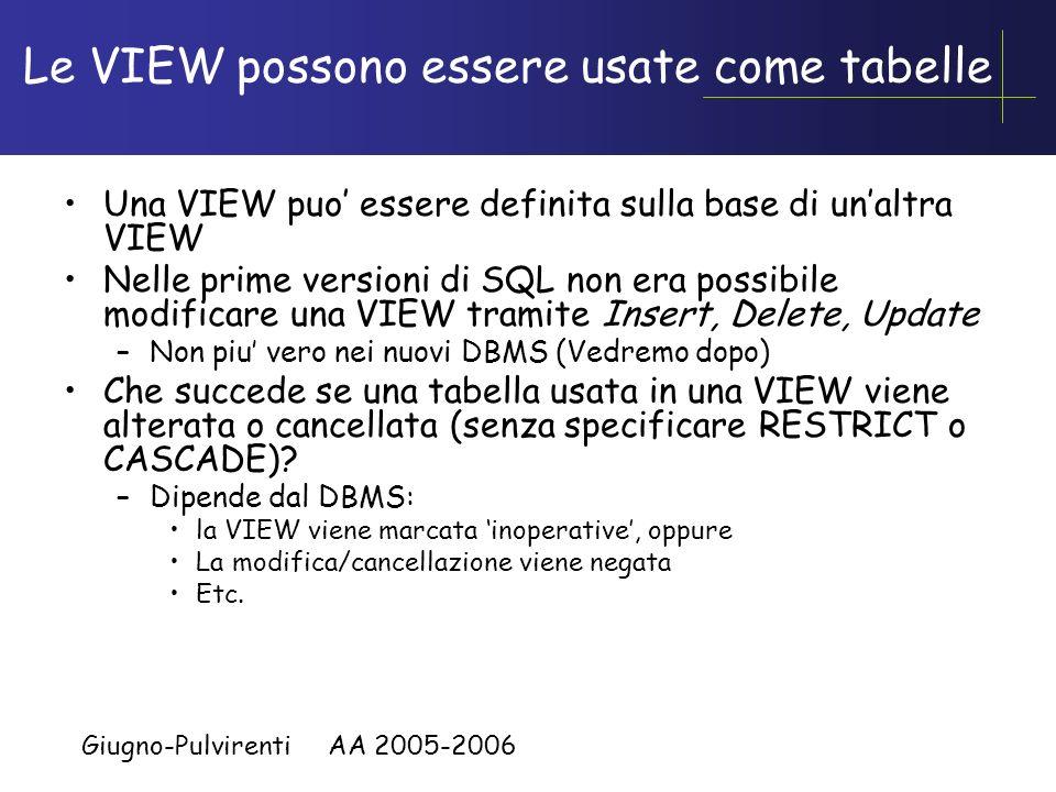 Le VIEW possono essere usate come tabelle