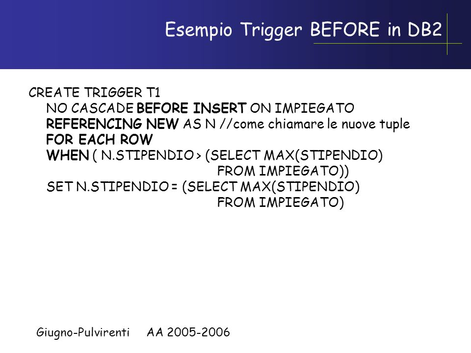 Esempio Trigger BEFORE in DB2