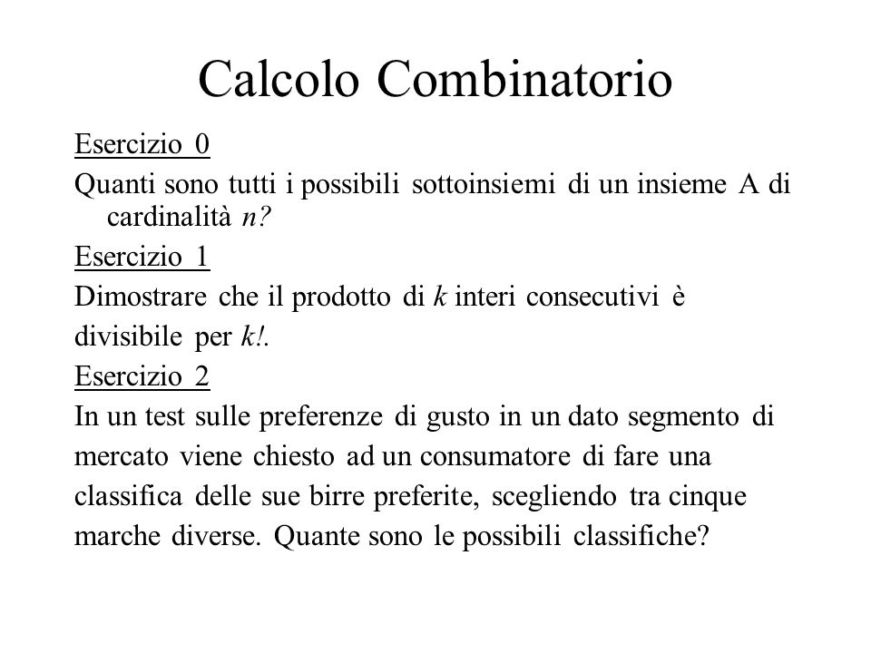 Calcolo Combinatorio Esercizio 0