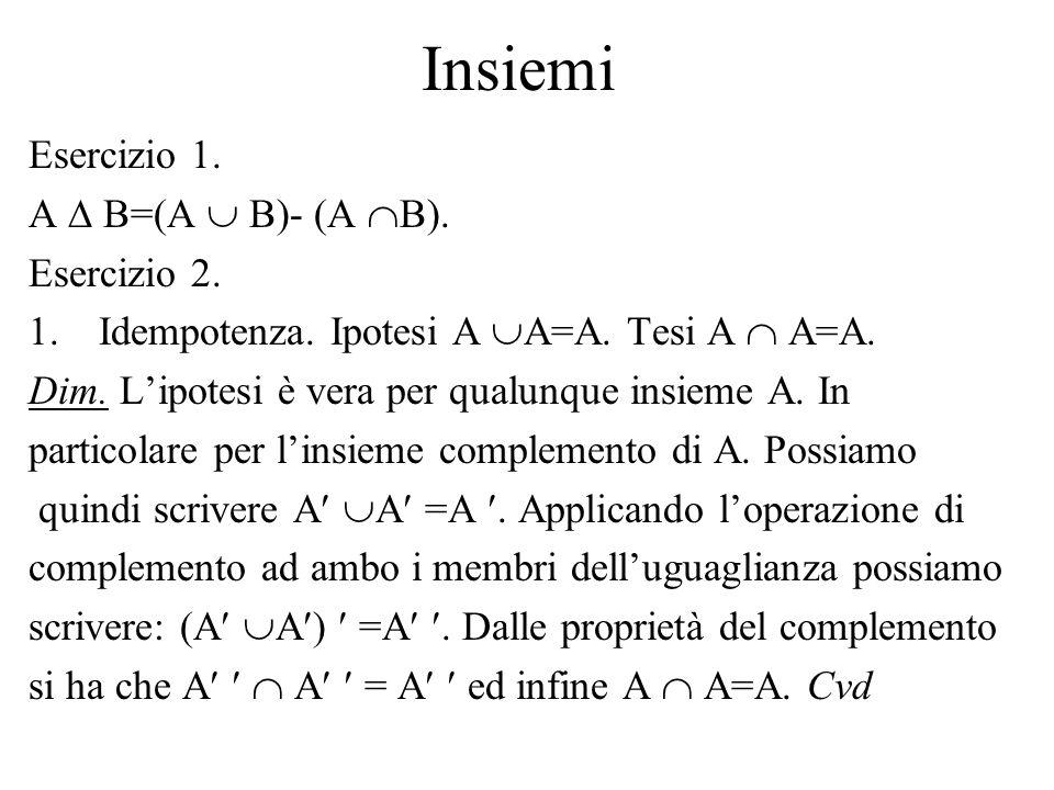Insiemi Esercizio 1. A  B=(A  B)- (A B). Esercizio 2.