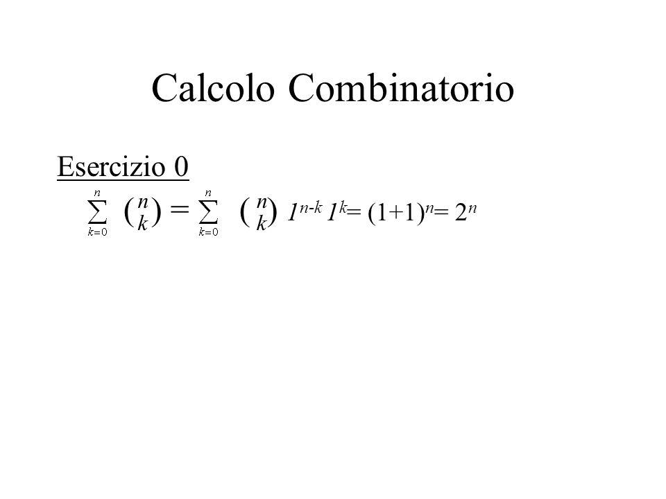Calcolo Combinatorio Esercizio 0 n k n k ( ) = ( ) 1n-k 1k= (1+1)n= 2n
