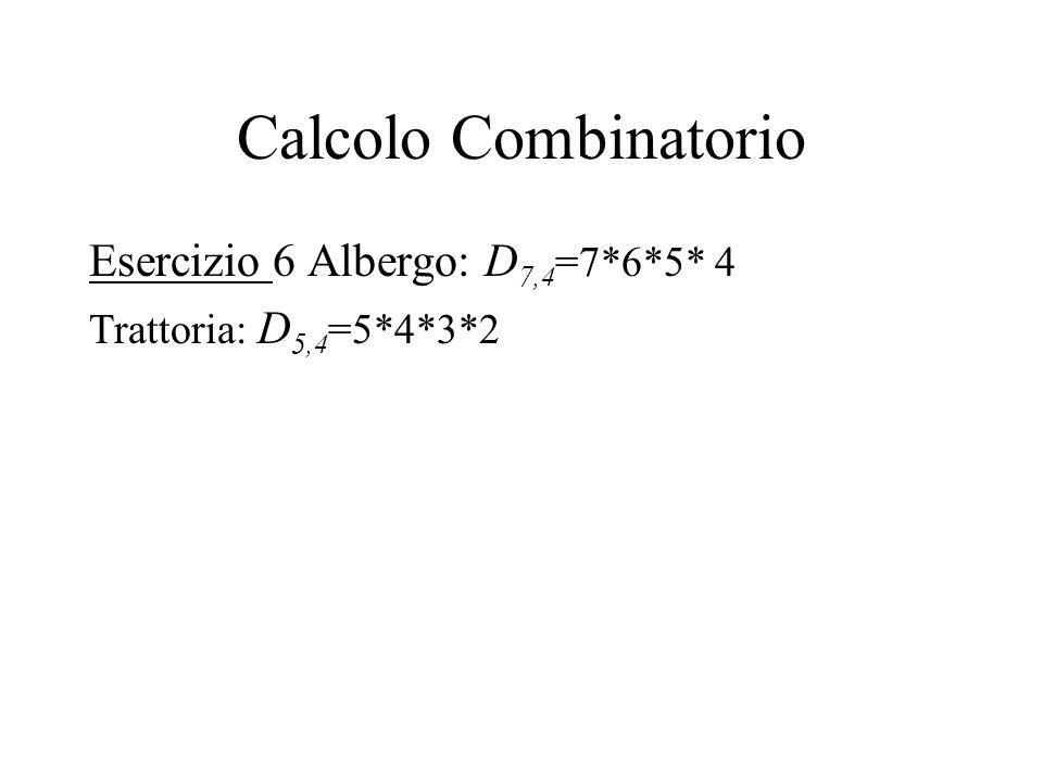 Calcolo Combinatorio Esercizio 6 Albergo: D7,4=7*6*5* 4