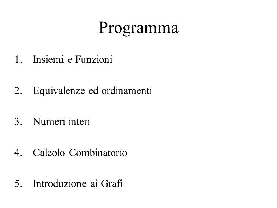 Programma Insiemi e Funzioni Equivalenze ed ordinamenti Numeri interi