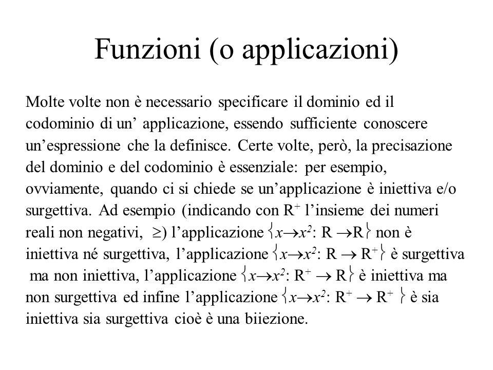 Funzioni (o applicazioni)