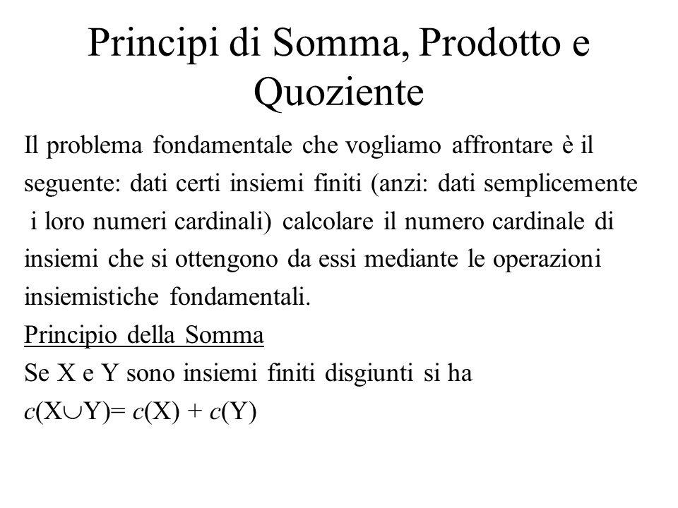 Principi di Somma, Prodotto e Quoziente