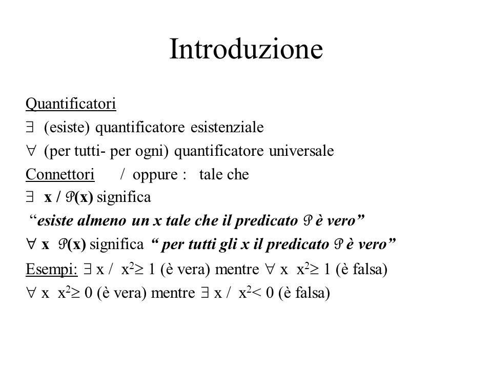 Introduzione Quantificatori (esiste) quantificatore esistenziale