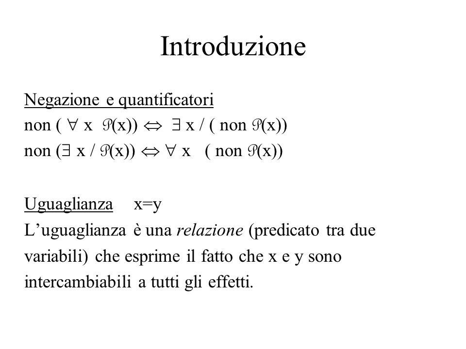 Introduzione Negazione e quantificatori