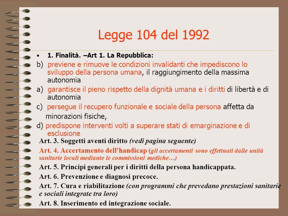 Legge 104 del 1992 1. Finalità. –Art 1. La Repubblica:
