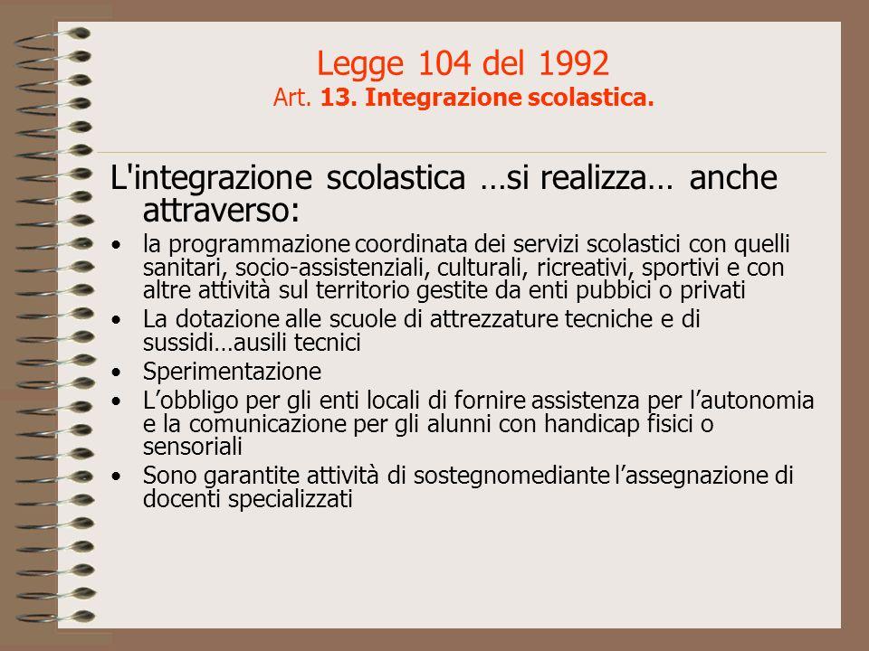 Legge 104 del 1992 Art. 13. Integrazione scolastica.