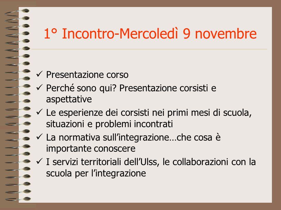 1° Incontro-Mercoledì 9 novembre