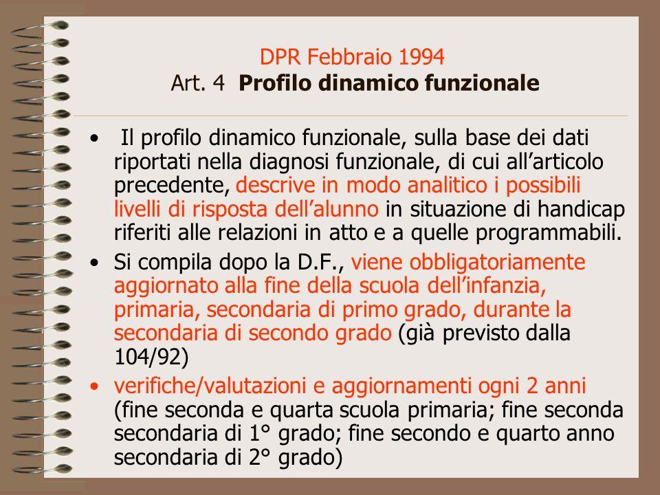 DPR Febbraio 1994 Art. 4 Profilo dinamico funzionale