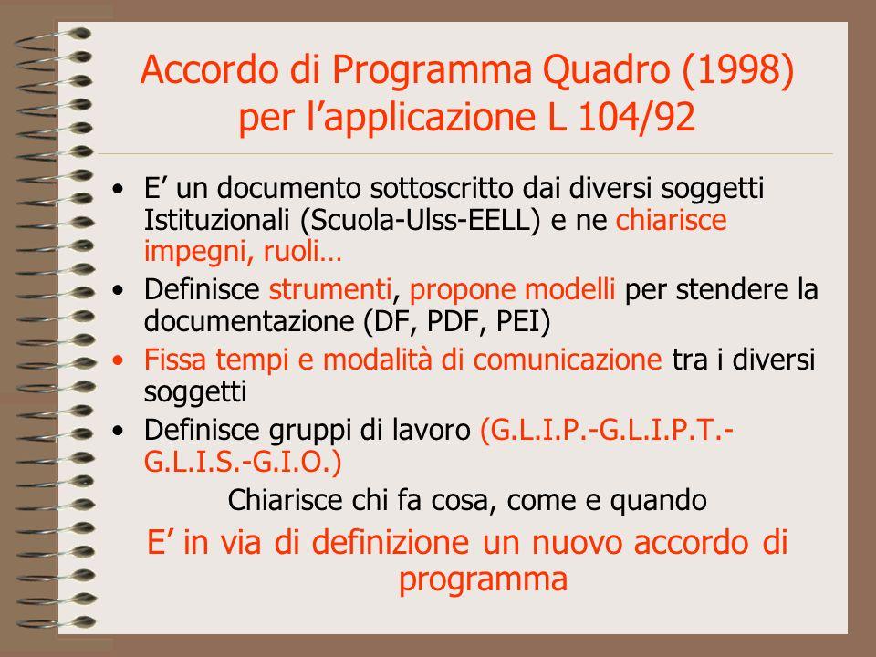 Accordo di Programma Quadro (1998) per l'applicazione L 104/92
