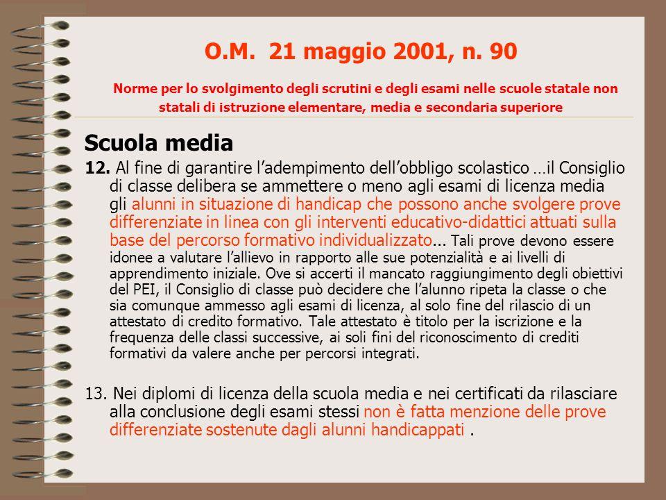 O.M. 21 maggio 2001, n. 90 Norme per lo svolgimento degli scrutini e degli esami nelle scuole statale non statali di istruzione elementare, media e secondaria superiore