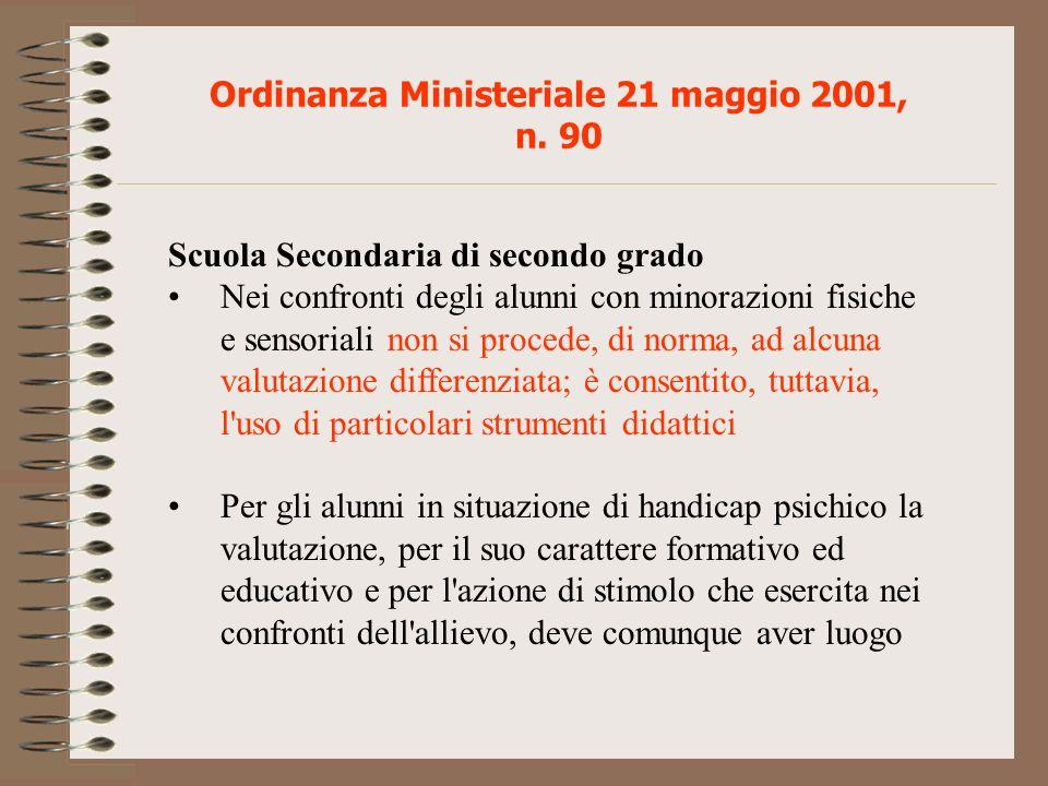 Ordinanza Ministeriale 21 maggio 2001, n. 90