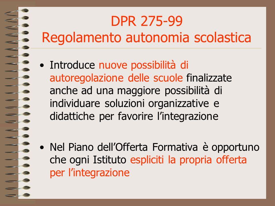 DPR 275-99 Regolamento autonomia scolastica