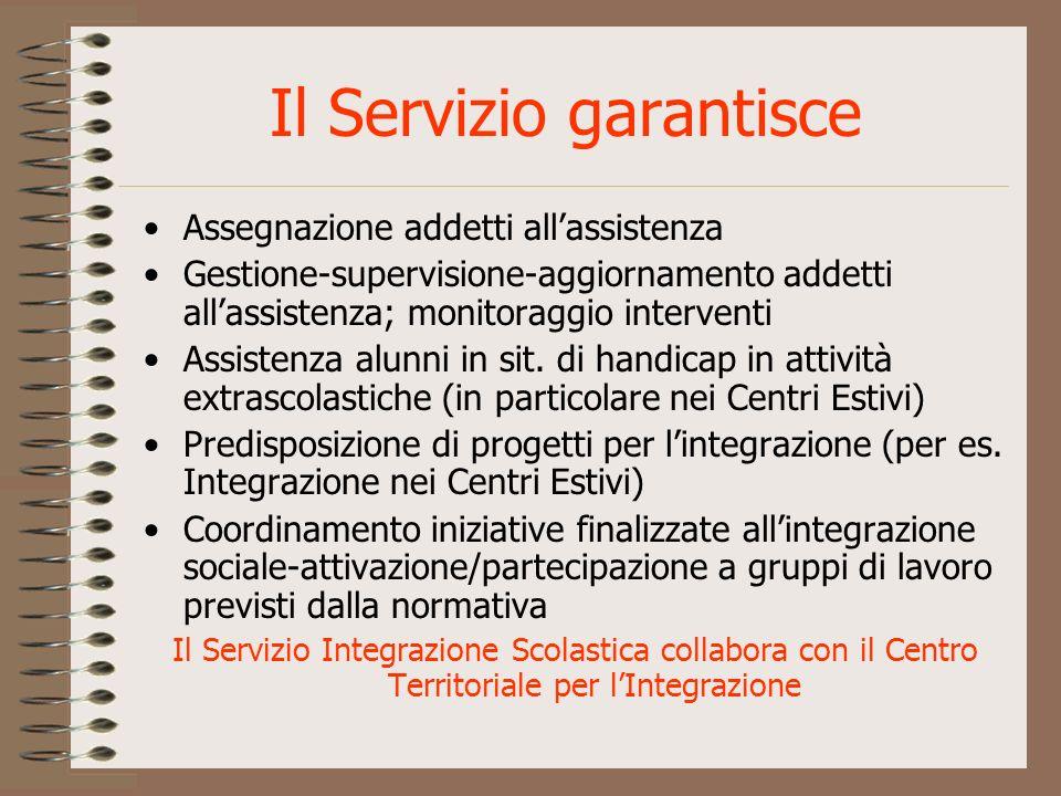 Il Servizio garantisce