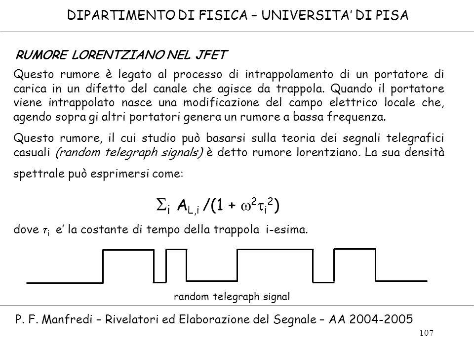 Si AL,i /(1 + w2ti2) DIPARTIMENTO DI FISICA – UNIVERSITA' DI PISA