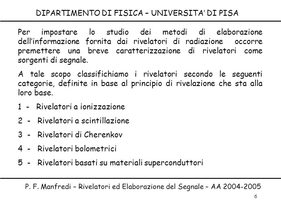 DIPARTIMENTO DI FISICA – UNIVERSITA' DI PISA